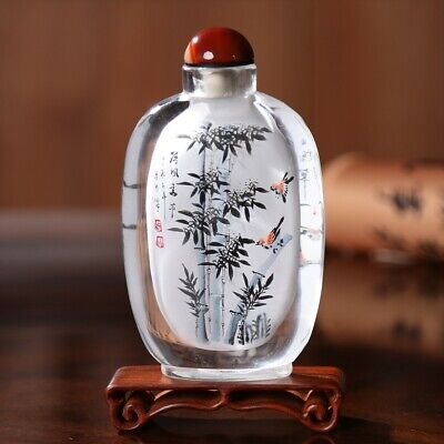 Inner Painting Snuff Bottle Chinese Antique Bamboo Symbolize Honest and Upright