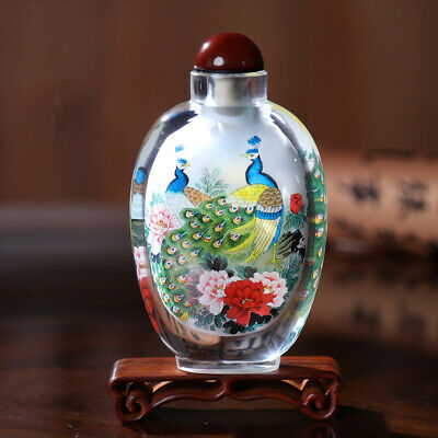 Inner Painting Snuff Bottle Chinese Antique Beautiful Peacock Symbolize Wealthy