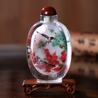 Inner Painting Snuff Bottle Chinese Antique Magpie Stand on the Plum Tree
