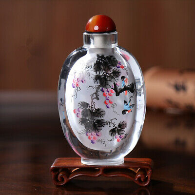 Inner Painting Snuff Bottle Chinese Antique Countless Rich Fruits