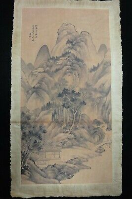 Very Fine Old Large Chinese Paper Painting Beautiful Landscape with Marks