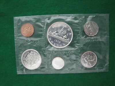1962 CANADA 6-Coin Mint set iss'd by Royal Canadian Mint, original envelope,COLA