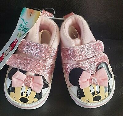 Disney's Minnie Mouse Baby Girl Pink Glitter  Trainer Shoe 0-3 Months