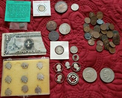 Vintage junk drawer lot COINS SILVER lighters military knife tokens Archie razor