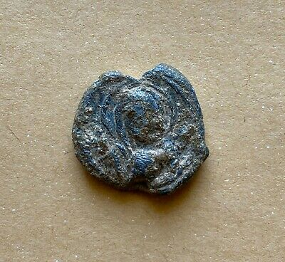 BYZANTINE LEAD SEAL/SIEGEL OF MARTINOS OFFICER (7th cent.)/VIRGIN. Nice piece!