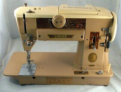 Vintage Singer Slant-O-Matic Sewing Machine 401A Motor Runs Clean Repair Parts