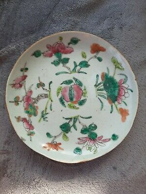 Antique Chinese Famille Rose Plate . Peach And Floral Design.
