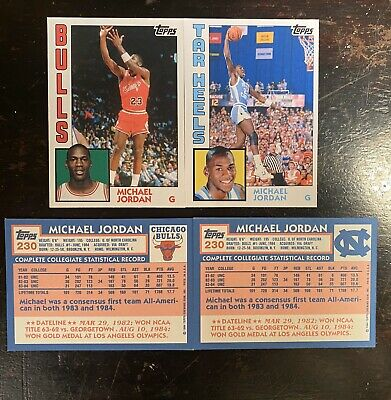 Michael Jordan 1984 Rookie Chicago Bulls/North Carolina Tarheels Custom Cards