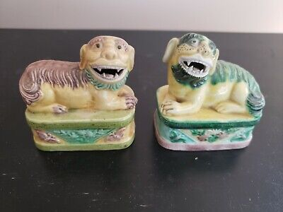 Pair Vintage Chinese Green Brown Glazed Ceramic Foo Dog Sculptures