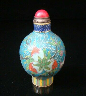 Collectibles 100% Handmade Painting Brass Cloisonne Enamel Snuff Bottles 010
