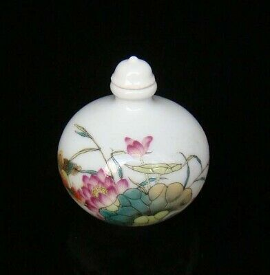 Collectible 100% Handmade Painting Porcelain Snuff Bottles Flower 10