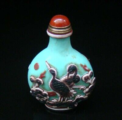 100% Handmade Carved Painting Snuff Bottles old peking Colored glaze 034