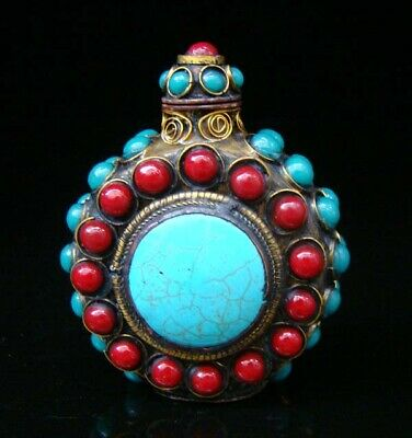 Collectibles Handmade Brass & Ruby  & Turquoise Inlaid Snuff Bottles