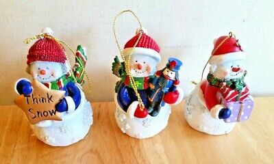 3 Piece Lighted Snowman Christmas Tree Ornaments New