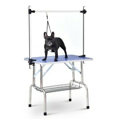 "Foldable 46"" Pet Grooming Table Arm Adjustable 1-pc Blue Color"