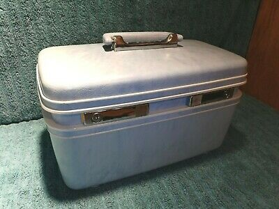 Vintage Samsonite Profile Blue Travel Train Makeup Case / Luggage Full Mirror