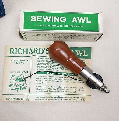 vintage leather sewing awl for leather stitching unused in box