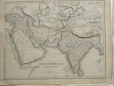ANTIQUE MAP of SOUTH WESTERN Asia - CHAPMAN & HALL 1846