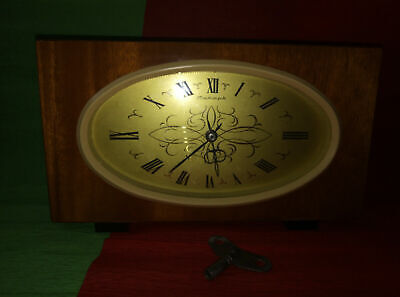WOODEN table CLOCK JANTAR with key VINTAGE USSR RUSSIAN