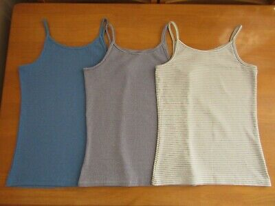 Next Girls 3 Pack Ribbed Stretch Cotton Mix Striped Vest Tops - Age 12 Years