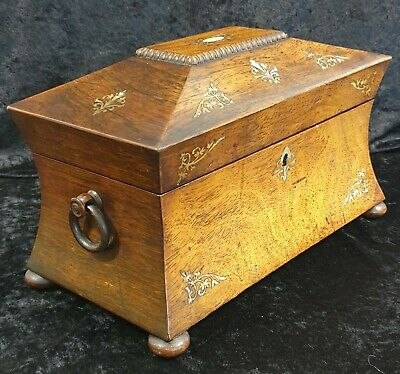 Georgian Sarcophagus Rosewood Two Section Tea Caddy - Bun Feet Mother of Pearl
