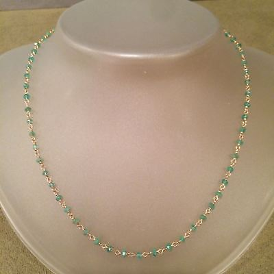 Emerald Chain Necklace 14k Yellow Gold Gemstones