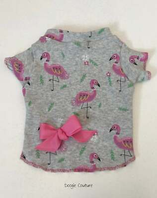 Fabulous Flamingo Knit Dog Shirt Size X-Small by Doogie Couture