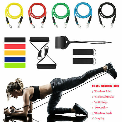 Resistance Bands Tubes Set Trainers Exercise For Fitness Workout Yoga Home Gym