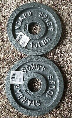 BRAND NEW+FREE SHIPPING Two 10 lb Standard Olympic Weight Plates 20lb barbell 2""