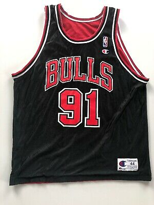 Champion Chicago Bulls RODMAN 91 Trikot 44 L NBA Basketball Jordan