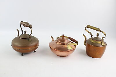 3 x Antique / Vintage COPPER KETTLES Inc. Footed, Round, Brass Handle Etc 1948g