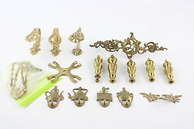 15 x Antique / Vintage BRASS HANDLES & HOOKS Inc Ornate, Victorian Style (2172g)