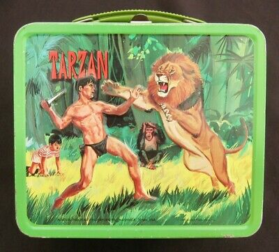 Vintage TARZAN Lunchbox - Ape Man Movies & TV - Man-Cave (1966) C-8+ Nice!