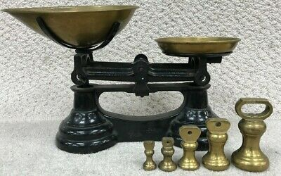 Vintage Cast Iron Weighing Scales with Weights - 1LB to 2OZ - Black, Brass