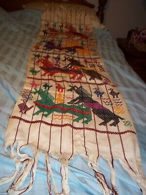 VTG Mexican Folk Art LARGE EMBROIDERED Wall Hanging Table Cloth~Mating Horses