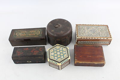 6 Vintage Trinket / Jewellery WOODEN BOXES Inc Mother Of Pearl Inlay Etc