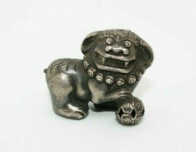 Antique Hand Carved Tibetian Silver Chinese Foo Dog Lion Figurine