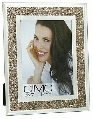 Crushed Diamond 5x7 Photo Frame Mirror Glass Trim With Crushed Sparkle 15 99 Picclick Uk