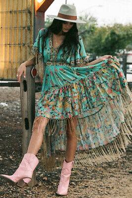 NWT $349 SPELL & and the GYPSY COLLECTIVE Hendrix Tassled  DRESS--AU L