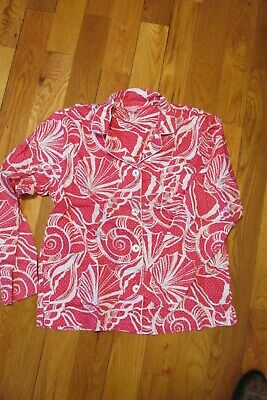Lilly Pulitzer Pajama Top Sleep Shirt Size Med Shell Print Hot Pink & White
