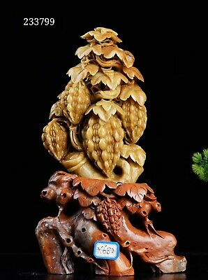 12'' Natural Qingtian stone hand-carved home decorate  bitter gourd statue