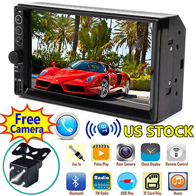 "Bluetooth Car Stereo Radio 2DIN 7"" HD MP5 FM Player Touch Screen +Rear Camera"