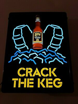 Miller Lite MGD Lighted Rare Crack The Keg Bar Sign Genuine Draft 3D Everbrite