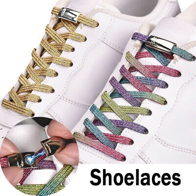 Colorful Bling Flat Shoe Laces No Tie Magnetic Shoelaces Elastic Sports Shoelace