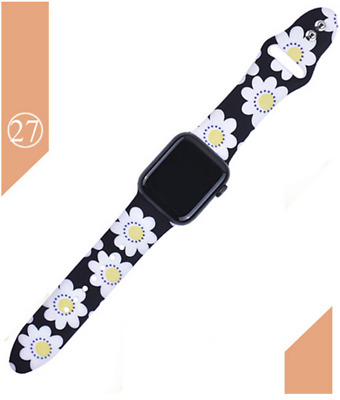 Printed Strap For Apple watch 44 mm 40mm 42mm 38mm Silicone Sport Bracelet Strap