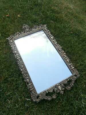 Antique Victorian Brass Mounted Italiante Wall Mirror - Super Example