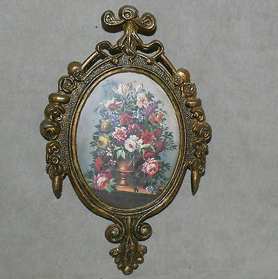Wall Art VINTAGE Framed Small ITALY Miniature Flowers Metal NICE! USA SELLER