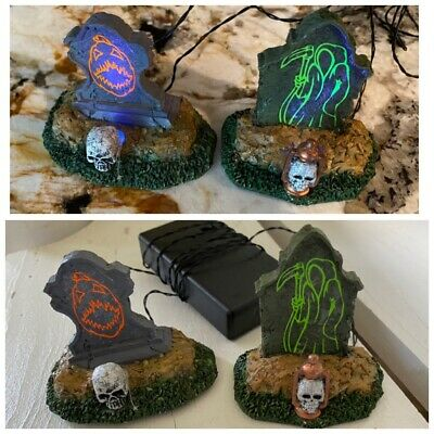 Lemax Spooky Town Retired discontinued Backlit Tombstones #24467