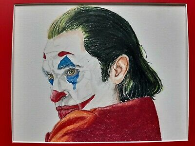 Joker, original art, beautiful hand drawn on high quality paper, framed