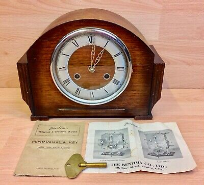 """Antique """"Bentima"""" 8 Day Westminster Chime Mantle Clock."""